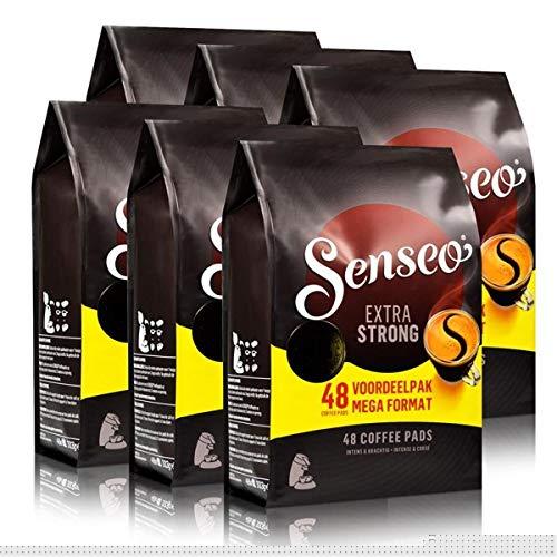 Senseo Kaffeepads Extra Dark / Extra Kräftig, Intensiver und Vollmundiger Geschmack, Kaffee, neues Design, 6er Pack, 6 x 48 Pads