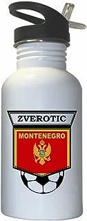 Elsad Zverotic (Montenegro) Soccer White Stainless Steel Water Bottle Straw Top