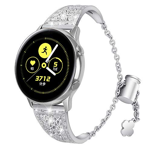 Aottom Compatible for Samsung Galaxy Watch Active 40mm Band 20MM Women Metal Rhinestone Diamond Chain Jewelry Bracelet Wristband Replacement Band for Samsung Galaxy Watch 42mm/Active 40mm/Gear Sport