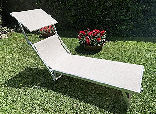MLI Lettino Pieghevole Professionale Ecru in Alluminio 83136DEL, con Tetto Parasole e Rivestimento in Textilene, Perfetto per Spiaggia, Piscina e Giardino