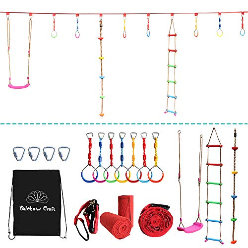 Rainbow Craft Portable Climbing Accessories for Ninja Obstacle Course - Without Ninjaline - Including 4-Pack Ninja Ring, Climbing Ladder, Climbing Net, Swival Wheel, Monkey Bars and Climbing Rope