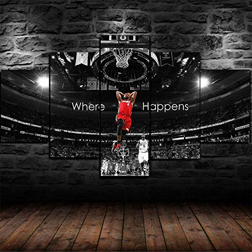 XIAYUU Baloncesto NBA Lebron James Cuadros En Lienzo Decoracion De Pared 5 Piezas HD Modernos Mural Fotos Arte Pintura Marco para,Salon,Dormitorio,Decoración del Hogar(150 x 80 CM)
