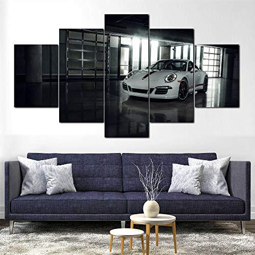 TTTRR 5 Piezas Moderno Cuadro En Lienzo - Coche Porsc 911 Carrera GTS - 5 Piezas Cuadro sobre Lienzo - Enmarcado 150*80 Cm, Moderno Oficina Salón Dormitorio Pared Decoración