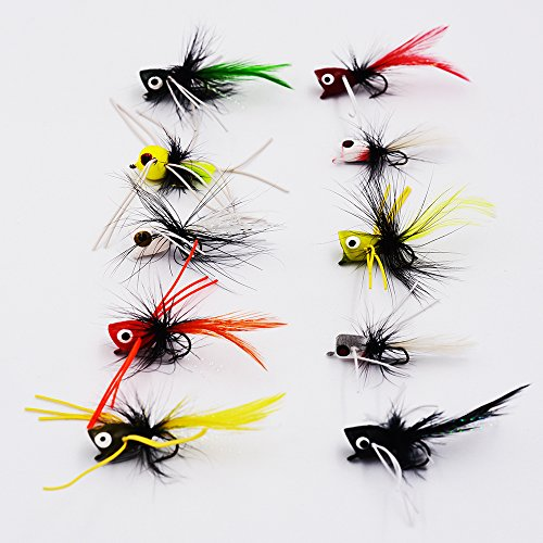 Flyafish Bass Popper Dry Fly Fishing Lure Kit Panfish Bait