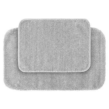 Garland Rug 2-Piece Traditional Nylon Washable Bathroom Rug Set, Platinum Gray