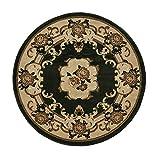 Think Rugs Marrakech Tradicional diseño Floral Alfombra Hecho a máquina 100% Polipropileno Alfombra Grande tamaños, Polipropileno, Verde, 140cm Circle