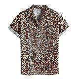 Camisa de Hombre Básico Botones Verano Hawaiana Camisas de Manga Corta Casual Estampado Leopardo Camisetas Vintage Suelto Blusa Polos Shirt Cuello Vuelto Playa Ropa con Bolsillo