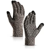 TRENDOUX Driving Gloves, Unisex Knit Winter Touchscreen Glove Men Women Texting Smartphone - Elastic Cuff - Thermal Wool Lining - Stretchy Material Coffee and White - L