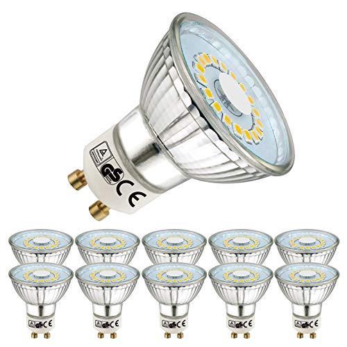 EACLL GU10 LED Neutralweiß 5W Leuchtmittel 4000K 450 Lumen Glühbirnen perfekter Ersetzen 50W Halogen Lampen. Lichtwinkel 120 Grad Neutralweiss Licht Tageslichtweiß Birnen, 10 Pack