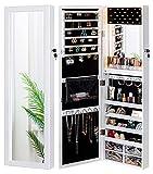 LUXFURNI Mirror Jewelry Cabinet 79 LED Lights Wall-Mount/ Door-Hanging Armoire, Lockable Storage Organizer w/ Drawers (White)