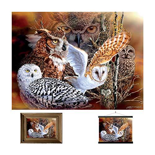 3D LiveLife Lenticular Cuadros Decoración - Búho en el bosque de Deluxebase. Poster 3D sin marco de animales. Obra de arte original con licencia del reconocido artista, Steven Michael Gardner