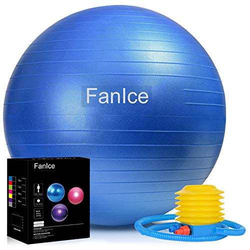 Gymnastikball, Dicker Anti-Burst Pilates Ball mit Ballpumpe, Balance Übung Core-Training, Sitzball für Yoga Pilates, Home Gym und Büro, Maximalbelastbarkeit bis 180kg (65cm)