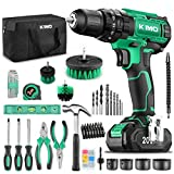 KIMO Cordless Drill Driver+ Kit, 20V Drill Driver Set w/Li-ion Battery/Charger, 68PCS Accessories, 3/8' Chuck, 350 In-lb Torque Drill Bits, Torpedo Level, Wire Pliers for Wood, Furniture Installation