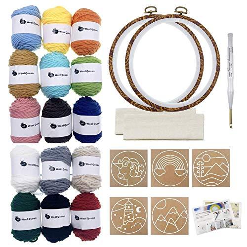 Wool Queen Punch Needle Beginner DIY Kit, 1 Punch Tool /15 Colors Yarn/Two 8.4