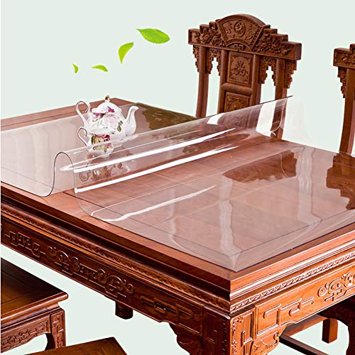 Clear Table Cover Protector,Rectangular Plastic Tablecloth PVC Table Pad For Coffee Writing Desk Kitchen Wood Furniture-A 60x60cm(24x24inch)