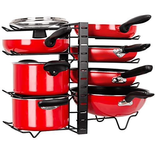 Soporte para Sartenes y Ollas Vertical, Estantería de Sartenes Ajustable Antideslizante, Organizador de Utensilios Cocina con 8 Compartimentos