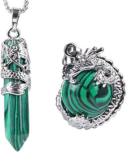 2 uds dragón colgante de piedras preciosas collar de cuarzo dragón chino hexagonal joyería gótica para mujeres y hombres-malaquita