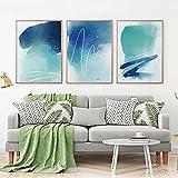 Gymqian Carteles e Impresiones de línea Azul Abstracta nórdica Tinta Moderna Acuarela Lienzo Arte Pintura Sala de Estar...