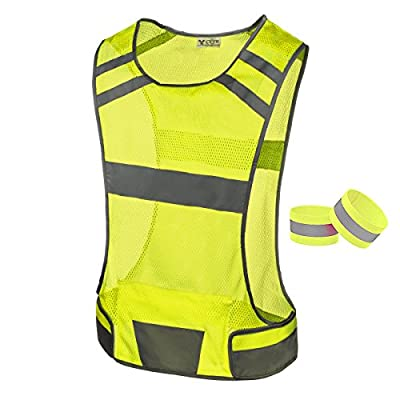247 Viz Reflective Running Vest Gear - Stay Visible & Safe - Ultra Light & Comfortable Motorcycle Reflective Vest - Large Pocket & Adjustable Waist, Safety Vest, with Bands (Yellow, Small)