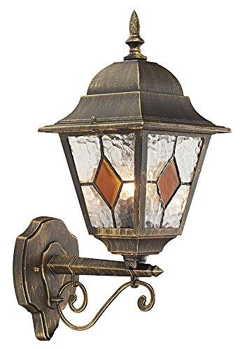 Zwart/goud gegoten aluminium buitenmuurlamp met amberkleurig glas