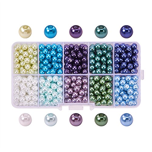 PandaHall Elite 6mm 600pcs Tiny Satin Luster Perle en Verre Rond Beads Assortment Mix Lot pr Creation de Bijoux Multicouleur-3