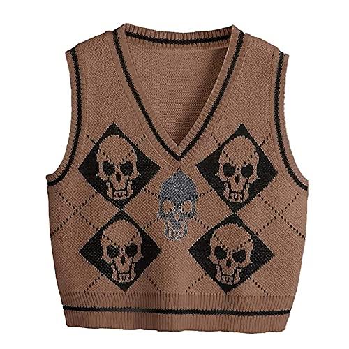 Mujeres Y2k suéter de punto chaleco Halloween esqueleto impresión cuello en V Argyle Preppy Style Tank Tops vintage gótico ropa de punto, marrón, M