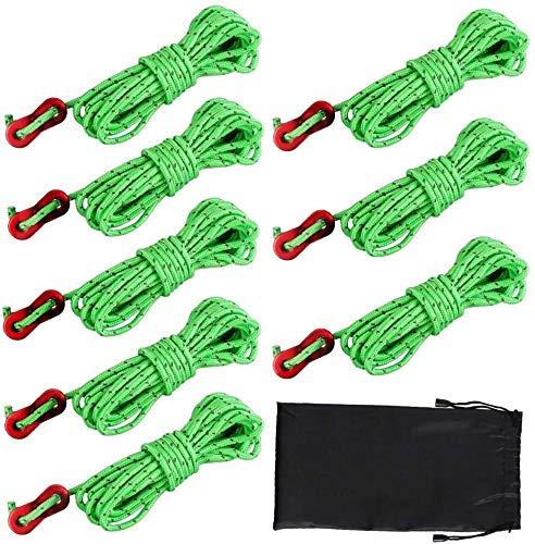 Dadabig 8pcs 4m*4mm Cuerdas Tipo Tienda de Campaña con Tensores Reflectantes Tienda de Cuerdas de Guía para Acampar Tienda de Toldos, con Bolsa de Almacenamiento
