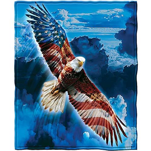 Super Soft Full/Queen Size Plush Fleece Blanket, 75 x 90 (American Eagle)