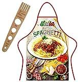 generico set tablier + fourchette à spaghetti en bois, produits italiens
