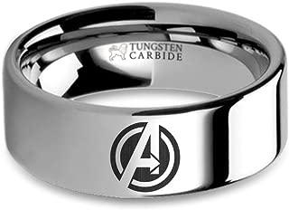 Marvel's Avengers A Symbol Logo Laser Engraved Tungsten Ring - 8 mm
