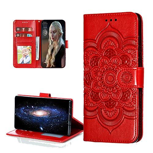 COTDINFORCA Hülle for Samsung Galaxy A11 Hülle Flip,Samsung M11 Cover PU Leder Schutzhülle Magnet Handytasche Bookstyle Kartenfächer Lederhülle Handyhülle für Galaxy A11/M11 Red Mandala LD.