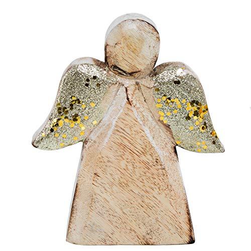 Logbuch-Verlag Massiver Holzengel Figur Holz Engel Weihnachtsdeko GOLDEN glitzernde Flügel Holzdeko Weihnachtsengel Schutzengel Natur Deko