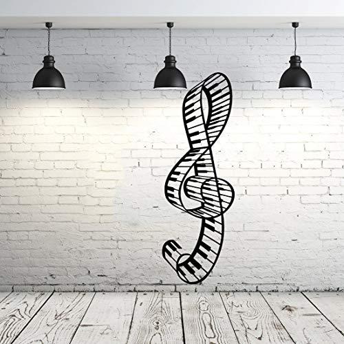 Adhesivo de vinilo para pared, diseño de notas musicales con clave de agudo, teclas de piano, notas musicales, olas, música, grabación, estudio, decoración de arte