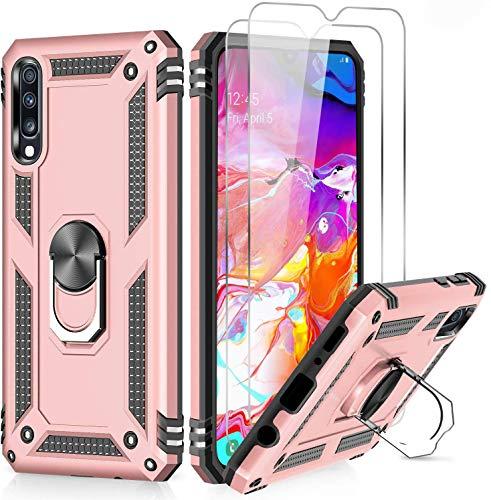 LeYi für Samsung Galaxy A50/A50s/A30s Hülle Handyhülle mit Panzerglas Schutzfolie (2 Stück), 360 Grad Ringhalter Cover TPU Bumper Stoßdämpfung Schutzhülle für Case Galaxy A50 Handy Hüllen Rosegold