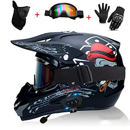 BYBYGXQ Casco Bluetooth para Motocicleta, Casco Motocross, Casco Integral con Doble Altavoz Integrado, Casco Motocicleta ATV Todo Terreno, Certificado ECE, Juego Cascos con Gafas, Máscara y Guantes