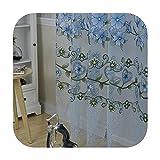 Cortinas de tul floral moderno 2018 6 colores para sala de estar para dormitorio y cocina, azul, Other