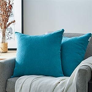 Topfinel Juego 2 Fundas Cojines Hogar Algodón Lino Decorativa Chenilla Almohadas Fundas de Color sólido para Sala de Estar sofás 45x45cm Azul Turquesa