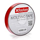 XFasten Super Strength Automotive Molding Tape, Gray, 1-Inch x 30-Foot, Double Sided Exterior Mounting Tape for Auto Body Molding, Trim, Side Mirror, Emblem, Nameplate and Outdoor Applications