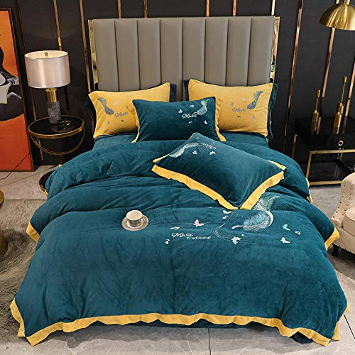 Shinon Flannel Sheets,Winter Thick Warm Single Bed Single Duvet Cover Double-Sided Fleece Soft and Comfortable King Size Christmas Bedding kit-F_1.8m Bed (4 Pieces)