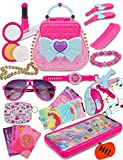 Kids Makeup Kit for Girl Toddler Toys Set Age 3-4-5-6-7-8-9-10-11 Year Old Dress Up Pretend Play Pink Princess Money Purse Fake Phone Jewelry Debit Card Christmas Halloween Birthday Gifts (Not Real)
