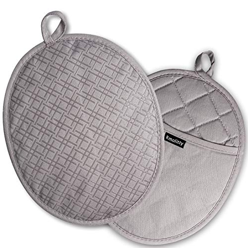 Rmolitty Pot Holders, Heat Resistant up to 500F Pot Holders for Kitchen, Non-Slip Grip Pad Holder with Soft Fabric and Silicone, 10''x 7'' Potholder with Pockets (Gray)