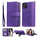 FLYEE Compatible with iPhone 12/iPhone 12 Pro(6.1 inch,2020 Release),Wallet Case for Women and Girls with Card Holder,Detachable 2in1 Premium Leather Zipper Purse Flip Case with Wrist Strap-Purple