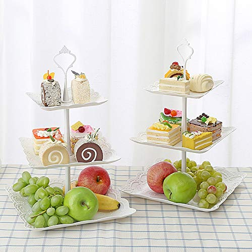 2019 Cake Topper - 3 Tier Cupcake Stand Wedding Cake Holder Birthday Party Dessert Display Trays Fruit Plate Living - Mould 2019 Layer Display Mermaid Nail Plate Wedding Tier Dessert Stand Tray H