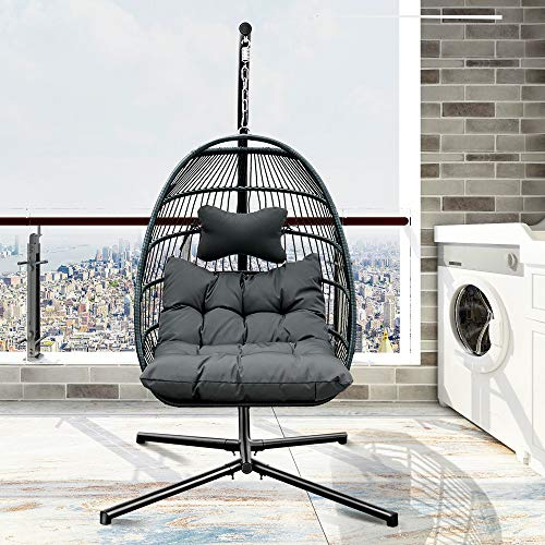 Patio Hanging Chair, Stand Swing Egg Chair, Wicker Hammock Chair with Aluminum Frame and UV Resistant Cushions for Indoor, Outdoor, 265lbs Weight Capacity (Dark Grey)