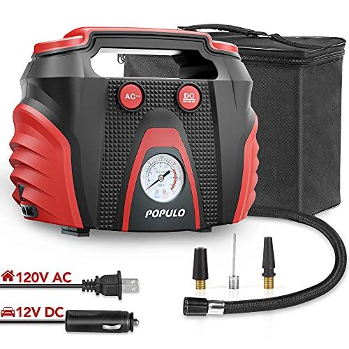 POPULO Car Tire Pump, AC/DC Portable Air Compressor Pump for Car (12V...