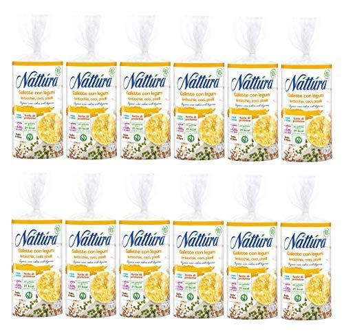 Nattura Gallette di Mais con Legumi (Lenticchie, Ceci e Piselli), Tonde Biologiche Senza Glutine Fonte di Proteine e Fibre - 12 x 100 Gram