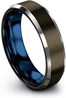 Tungsten Carbide Wedding Band Ring 6mm for Men Women Green Red Blue Purple Black Gunmetal Copper Fuchsia Teal Interior with Beveled Edge Brushed Polished