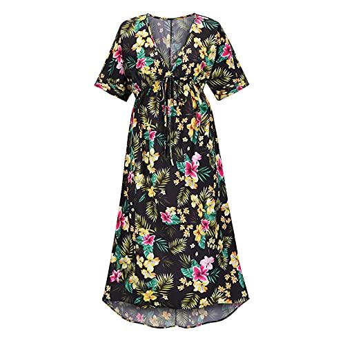 Vestido Bohemio Sexy con Cuello En V para Mujer, Vestido con Estampado Floral, Vestido De Noche Sexy Dividido Irregular, Vestido De Playa De Verano (Negro+M)