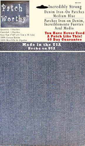 1 Medium Blue 5'x8' Iron on Patches - Strongest Iron on Denim Jean Patch