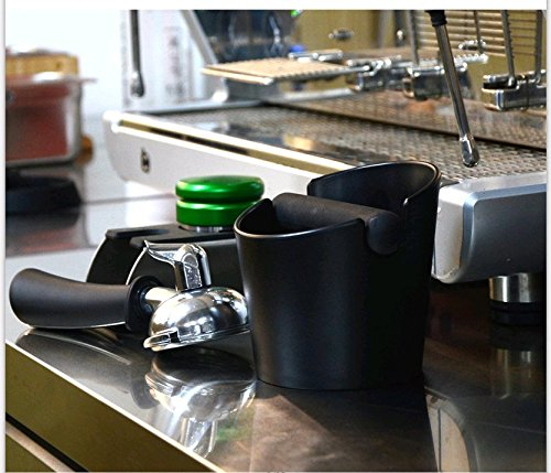 HOMEE Espresso Knock Box 4.8 Inch Shock-Absorbent Durable Barista Style Knock Box With Removable Knock Bar and Non-Slip Base Gift (Round)